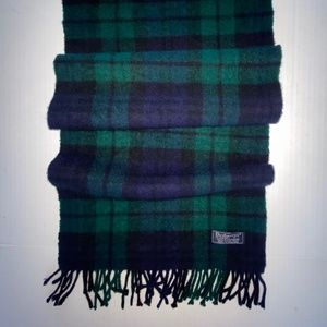 Burberry Blue Green Black CASHMERE Scarf 12.5 x 56